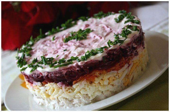 Слоеные салаты рецепты с мясом